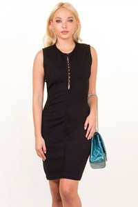 Gianni Versace Black Wool Knitted Bodycon Dress / Size: 42 IT - Fit: S